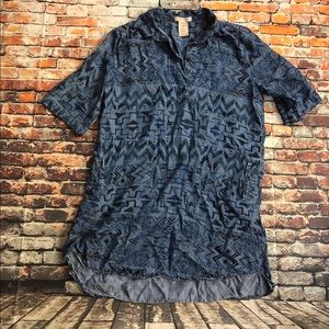 Philosophy sz XL Aztec denim pocket tunic pockets